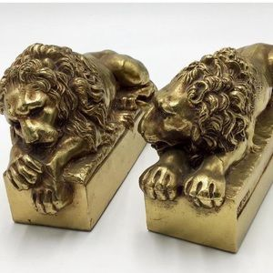 Bronze Lion Bookends